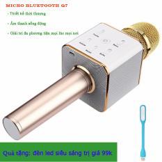 Micro karaoke tích hợp Loa Bluetooth Q7 (Vàng) tặng 1 đèn led siêu sáng