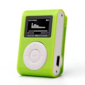 Mini USB Clip MP3 Player LCD Screen Support 32GB Micro SD TFCard(Green) - intl