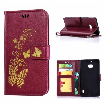 Mooncase Bronzing Butterfly PU Leather Case For Nokia Lumia 930Burgundy - intl