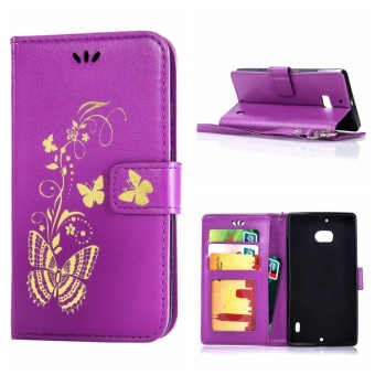 Mooncase Bronzing Butterfly PU Leather Case For Nokia Lumia 930Purple - intl