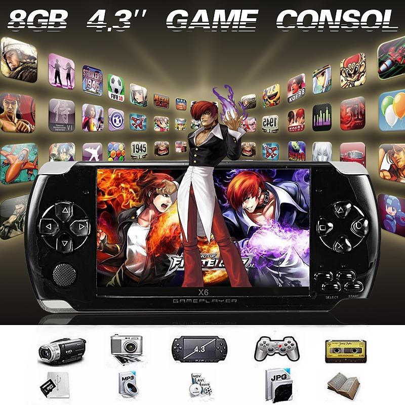 New 4.3inch Screen 8G 32 Bit Portable Handheld Game Console 1000+ Games Built-in Black - intl