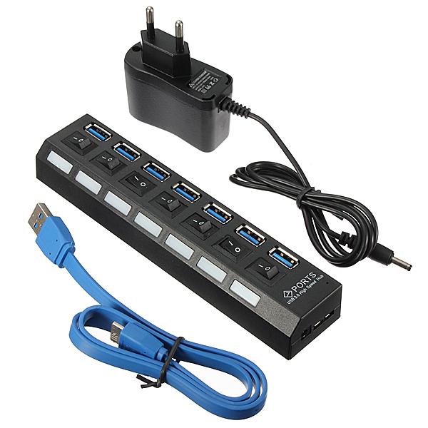 Mua Mới 7 Cổng USB 3.0 Tốc Độ Cao Trung Tâm Trên Tắt/Mở + UK/EU/MỸ Điện AC adapter EU (Quốc Tế) ở đâu tốt?