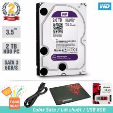 Ổ cứng gắn trong chuyên Camera HDD Western Purple 2TB SATA 6Gb/s – Tặng: Cáp Sata, USB 8GB, Lót Chuột