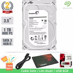 Ổ cứng gắn trong Desktop HDD Seagate 1TB SATA 6Gb/s – Tặng: Cáp Sata, USB 8GB, Lót Chuột