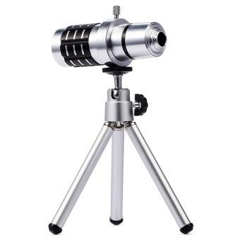 Ống kính zoom xa đa năng 12x tele lens kit cho mọi smartphone LieQi (Bạc)