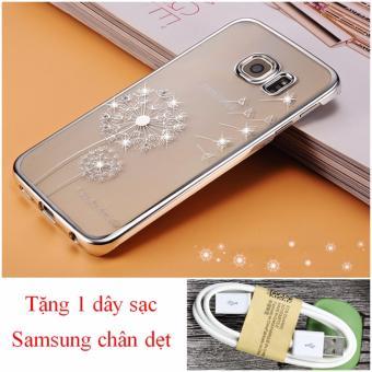 Ốp lưng điện thoại Samsung Galaxy S6 Edge (Vàng) bồ công anh tặngdây cáp sạc