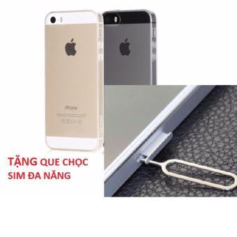 Ốp silicone iphone 5 5s trong suốt không bị úa vàng tặng que chọcsim