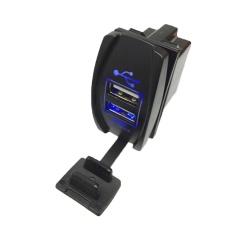 Opkmc Xe Ô Tô Xe Máy USB Ổ Cắm Bộ Chia Sạc Di Động (Đen + Xanh Dương)-quốc tế