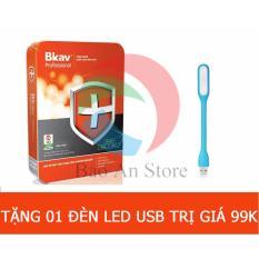 Phần mềm diệt Virus BKAV Internet Security Pro 2017 + 1 đèn led trị giá 99k