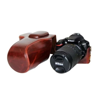 PU Leather Camera Case Bag Cover with Tripod Design forNikonD5500(Coffee) - intl