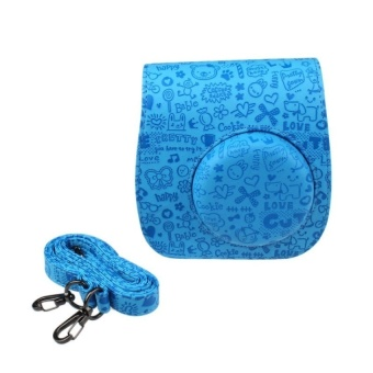 PU Leather Camera Case Bag for Fujifilm Instax Mini 8/Mini 8s(Blue)- intl