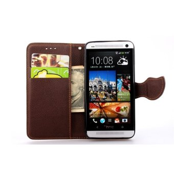 Hình thu nhỏ PU Leather Flip Protective Case Cover with Strap for HTC One M7(Brown) - intl