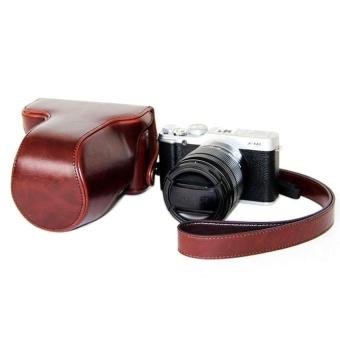 PU Leather Half Camera Case Bag Cover Base for Fujifilm XM1XA1XA2(Coffee) - intl