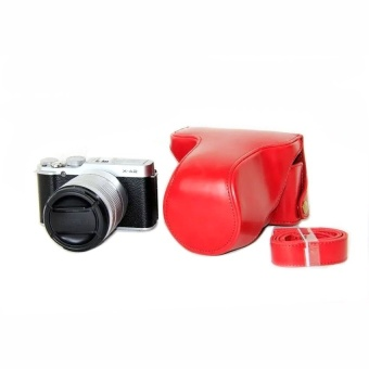 PU Leather Half Camera Case Bag Cover Base for Fujifilm XM1XA1XA2(Red) - intl