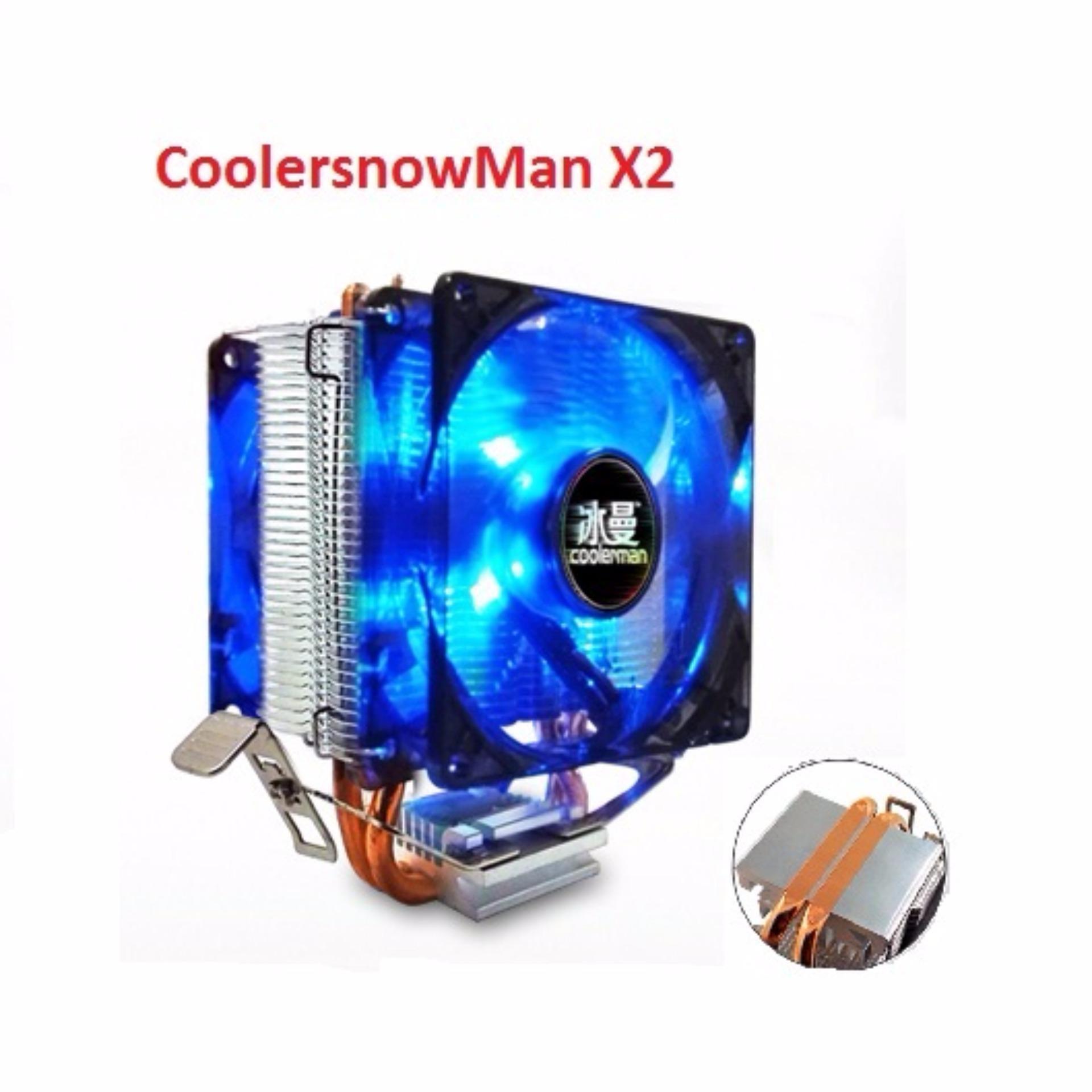 Giá Quạt tản nhiệt CPU CoolerSnowMan X2 Dual Fan LED xanh Tại Vi Tính Mạnh Tiến