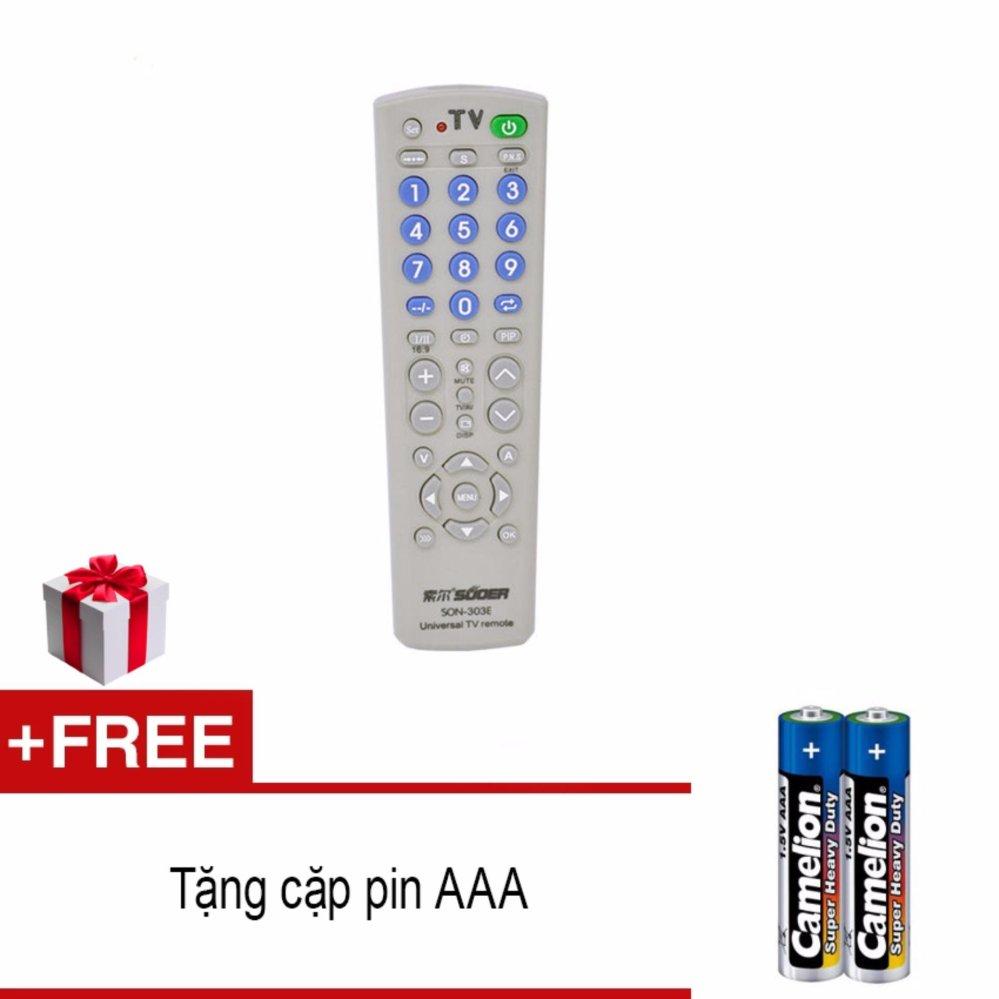 Remote điều khiển Tivi đa năng dùng cho nhiều loại TV + tặng cặp pin AAA(Xám)