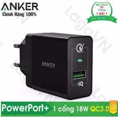 Sạc ANKER PowerPort+ 1 18w Quick Charge 3.0 PowerIQ chân tròn – A2013 – Hãng phân phối chính thức