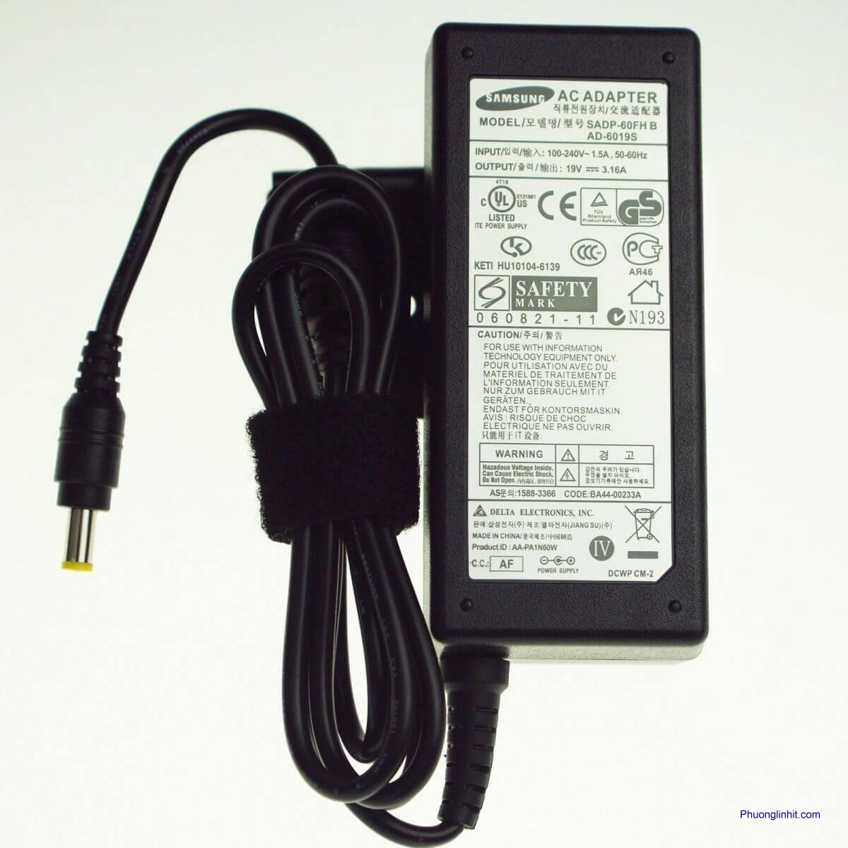 Tư vấn mua Sạc cho laptop SAMSUNG: 19V – 3.16A – 60W