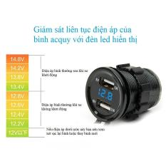 Mua Sạc điện thoại trên xe máy 2 cổng USB có đèn led hiển thị điện áp bình acquy Tại Lem Luoc