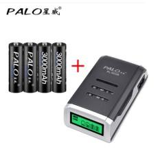 Sạc pin AA,AAA màn hình LCD kèm 4 pin sạc AA 3000mah Palo cao cấp chuyên Mic karaoke ,chuột không dây …
