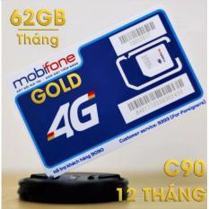 *Cam kết sim 10 số*SIM 4G Mobi Gold C90 62GB/Tháng + Miễn Phí 4300 Phút gọi/tháng