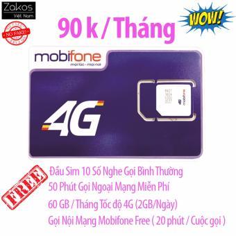 Sim 4G Mobifone 60Gb/Tháng Nghe Gọi Miễn Phí Nội Mạng Ngoại Mạng 50 Phút