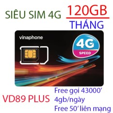 Sim 4g vinaphone vd89 plus tặng 120gb/tháng goi free 43000′, 50′ liên mạng