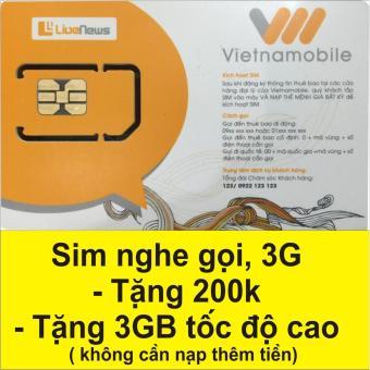 Sim nghe gọi 3g Vietnamobile có ngay 3GB tốc độ cao và 200k trong tài khoản