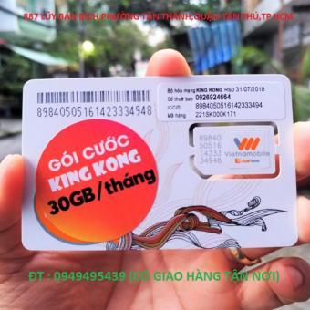 sim vietnammobile TK 30Gb,miễn phí 1500 phút gọi.