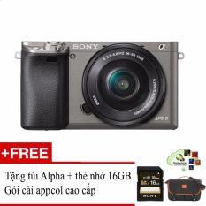 Sony A6000 24.3MP với lens Kit 16-50 (Xám) + Tặng 1 túi đựng máy ảnh + thẻ nhớ 16GB + gói cài App Collection