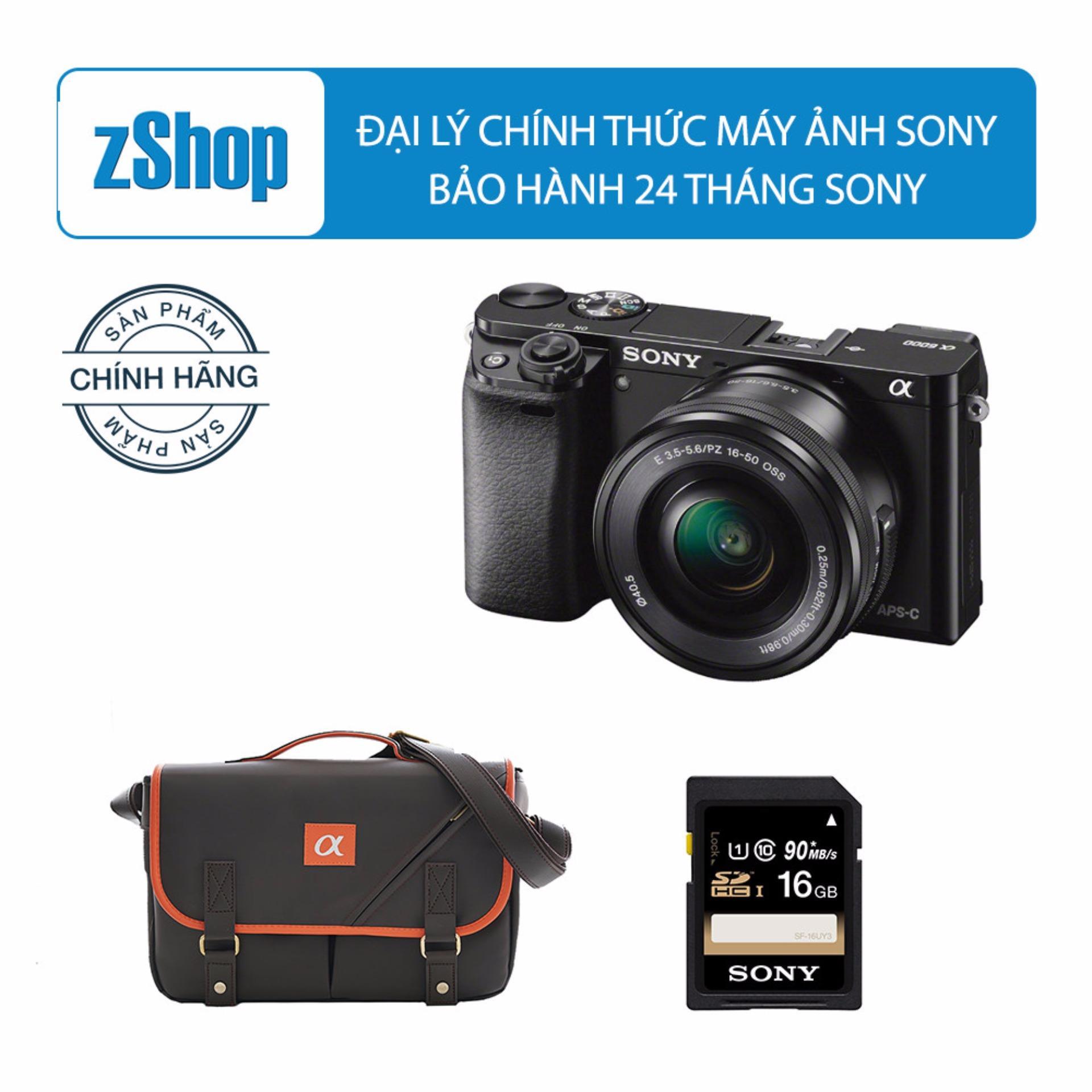 Sony A6000 24.3MP với Lens Kit 16-50mm (Đen) Chính hãng + Tặng Thẻ nhớ SD 16GB + Túi Sony