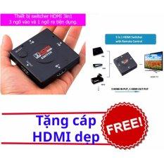 Switch HDMI FullHD cho tivi 3 ngõ vào 1 ngõ ra + 1 cáp hdmi dẹp