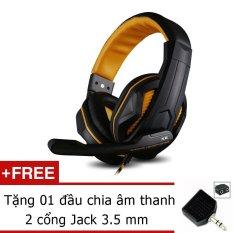 Tai nghe chơi Game Ovann X2 – Gaming Headsets Ovann X2 (Đen Cam) + Tặng đầu chia âm thanh 2 cổng Jack 3.5mm