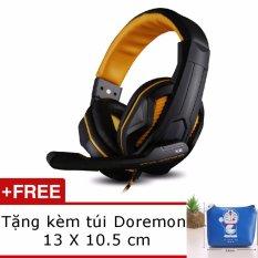 Tai nghe chụp tai Ovann X2 Pro Gaming Headsets Ovann X2 (Đen Cam) Tặng ví đựng tai nghe Doremon