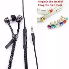 Tai nghe khóa kéo chống rối Zipper (thời trang cho các bạn trẻ) + Tặng Nút bịt chống bụi thời trang cho điện thoại