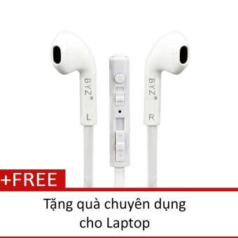 Tai nghe nhét tai BYZ S389 (Trắng) Tặng quạt chuyên dụng cho laptop