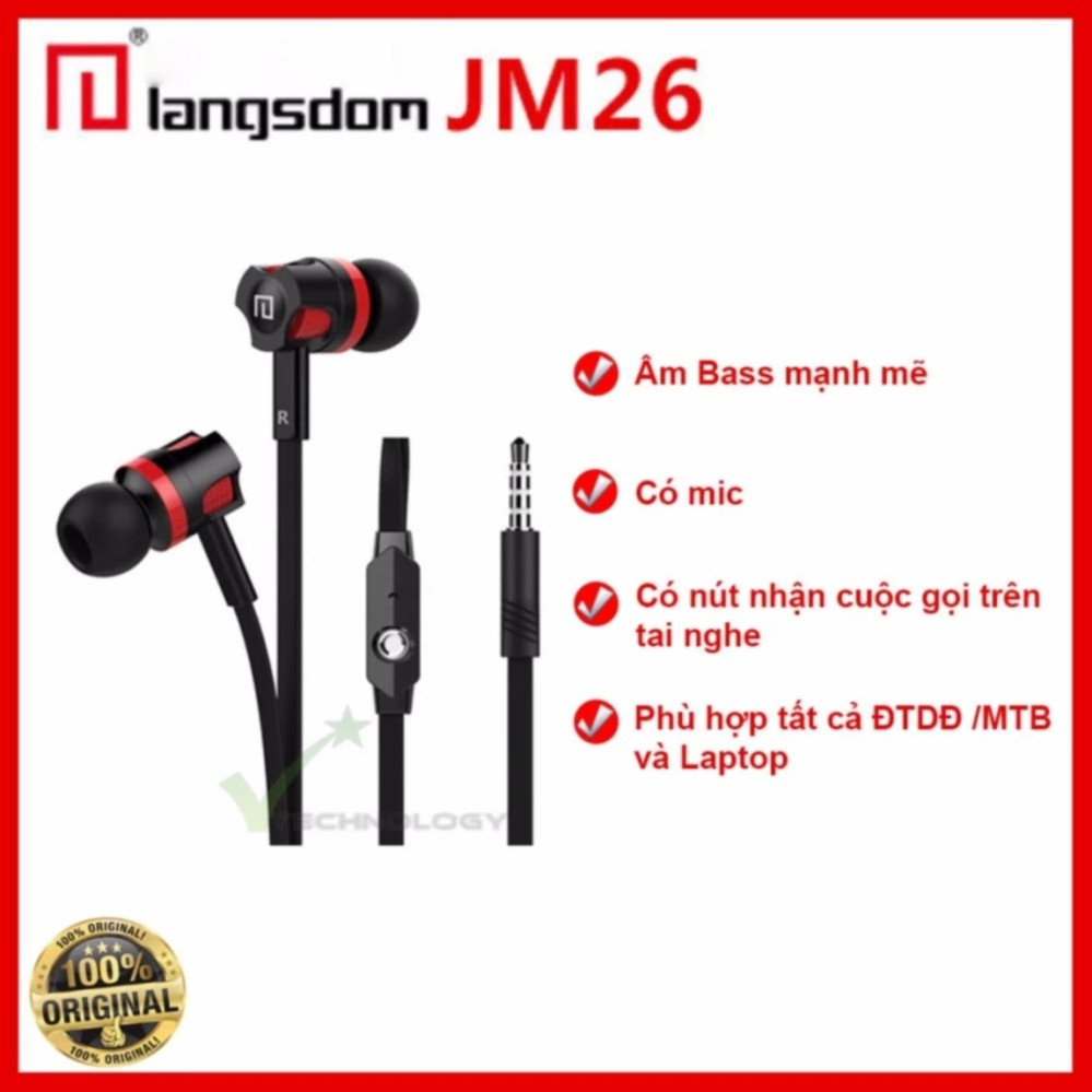 Tai nghe nhét tai earphone Langsdom JM26 Super Bass NEW EDITION (Đen)