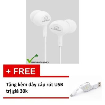 Tai nghe nhét tai Easy Bear Pease Series Super Bass (Trắng) + Tặngkèm dây cáp rút micro USB trị giá 30k