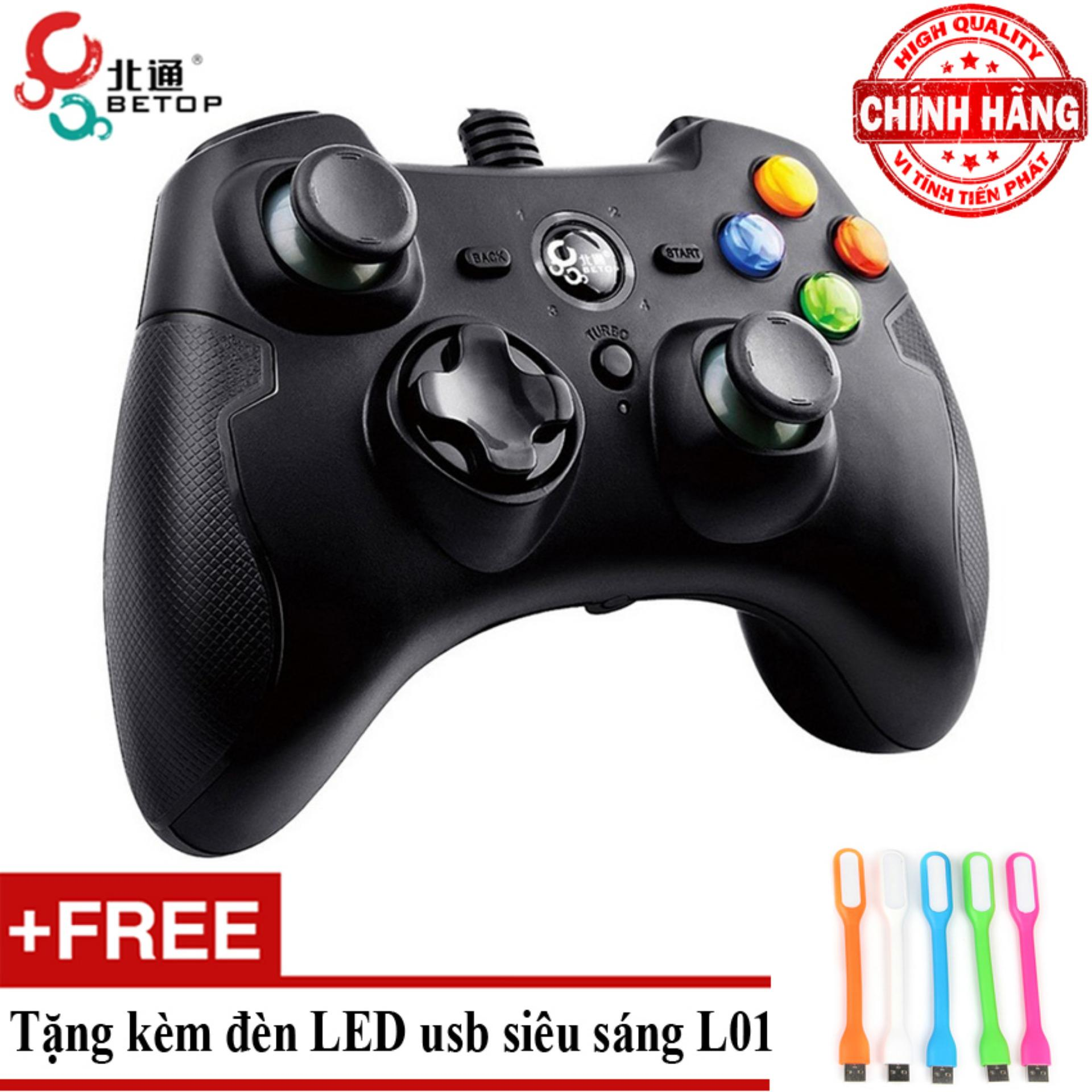 Mẫu sản phẩm Tay cầm chơi game có dây Betop BTP 2272 + Tặng đèn Led usb L01