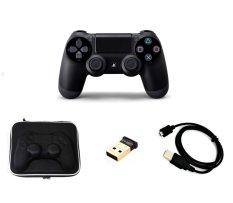 Tay cầm chơi game PS4 Dualshock 4 + Bao bảo vệ tay chống sốc + USB Bluetooth 4.0 + Dây USB sạc tay (Đen)