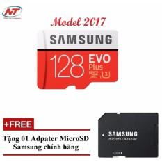 Thẻ nhớ MicroSDXC Samsung Evo Plus 128GB UHS-I U3 100MB/s - Model 2017 (Đỏ) + Tặng MicroSD Adapter Samsung 128GB
