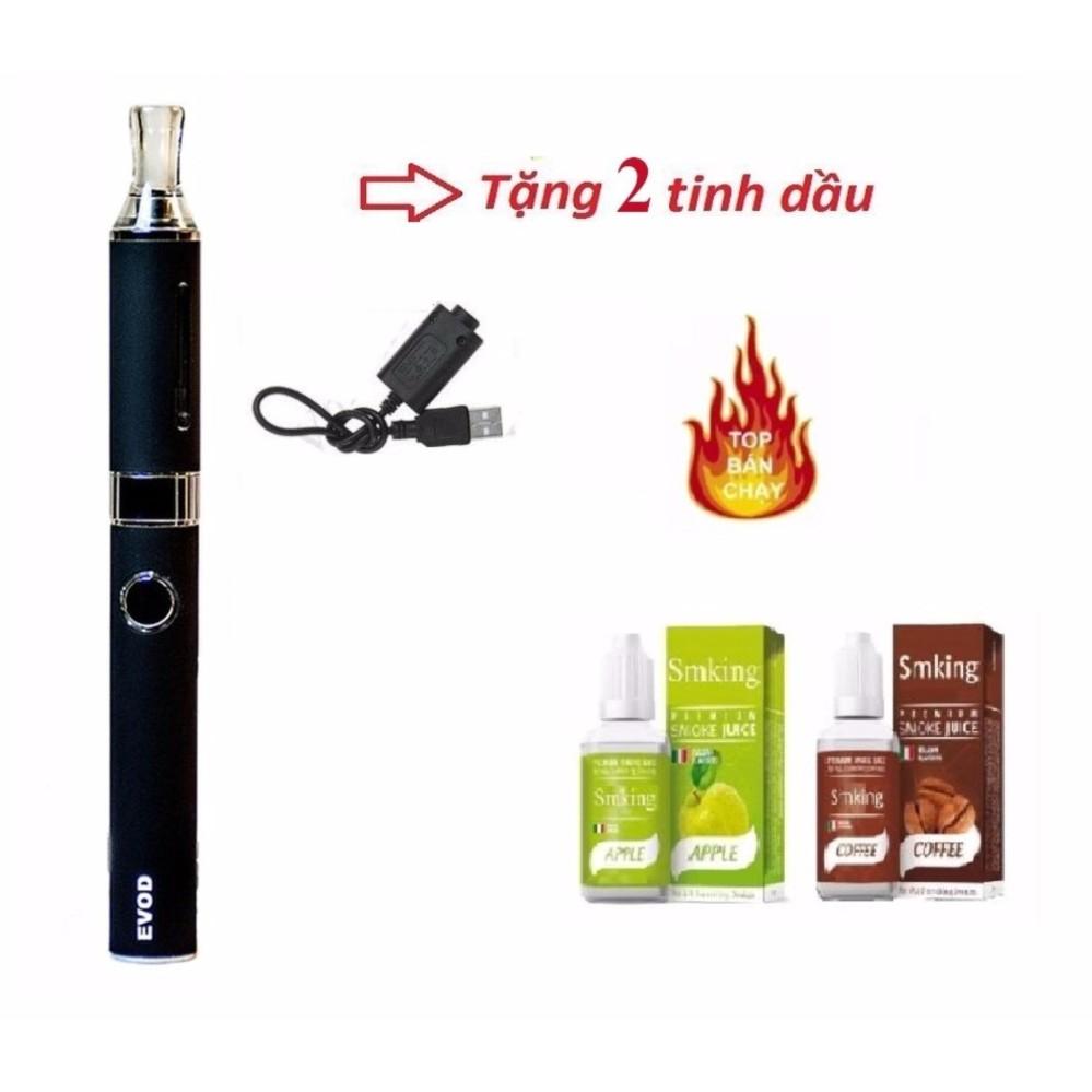 Thuốc lá điện tử shisha pen Evod MT3 NEW 2018 Black + Tặng 2 tinh dầu vị hoa quả ngẫu nhiên 0mg nicotin
