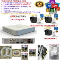 Trọn bộ 1 đầu ghi hình Camera 4 KÊNH ULTRA HD cao cấp Hikvision DS-7104HQHI-K1 + 3 Camera ULTRA HD DS-2CE16F1T-IT + 1 ổ cứng chuyên dụng Seagate skyhawk/TOSHIBA 1000GB + 3 Nguồn nhện xịn 12V + 1 HDMI + 3 sợi cáp liền nguồn 15M bấm sẵn 4 đầu