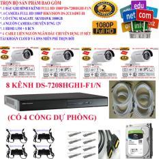 Trọn bộ 1 đầu ghi hình Camera 8 KÊNH FULL HD 1080P cao cấp Hikvision DS-7208HGHI-F1/N + 4 Camera FULL HD 1080P DS-2CE16D0T-IR + 1 ổ cứng Seagate /WD 1000GB + 4 Nguồn nhện xịn 12V + 8 Rắc BNC + 1 dây HDMI