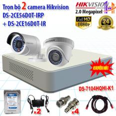 Trọn bộ 2 camera 2.0MP DS-2CE56D0T-IRP + DS-2CE16D0T-IR + DS-7104HQHI-K1
