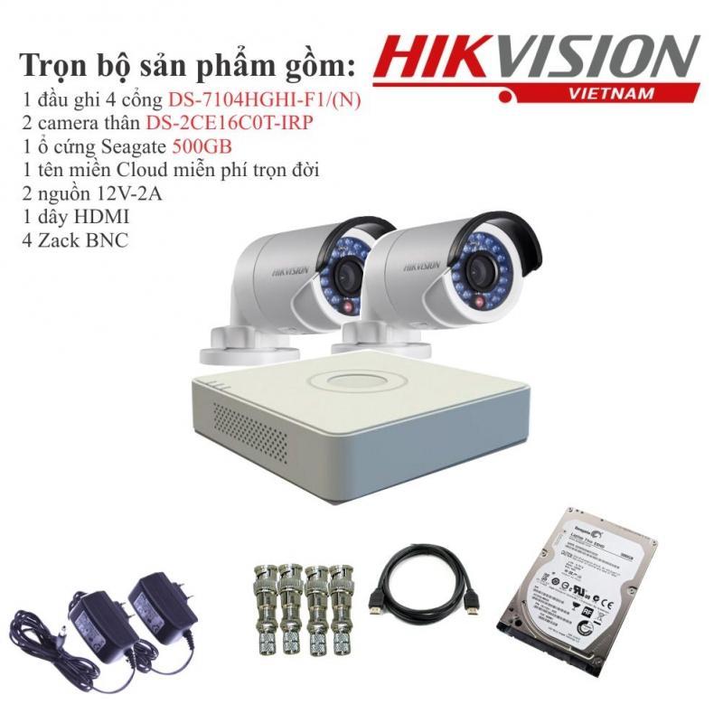 Trọn bộ 2 camera quan sát HIKVISION TVI 1 Megapixel DS-2CE16C0T-IRP chuẩn 720HD