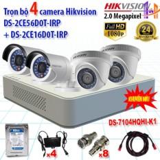 Trọn bộ 4 camera 2.0MP DS-2CE56D0T-IRP + DS-2CE16D0T-IRP + DS-7104HQHI-K1
