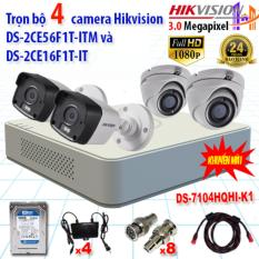 Trọn bộ 4 camrea 3.0MP DS-2CE56F1T-ITM + DS-2CE16F1T-IT + DS-7104HQHI-K1