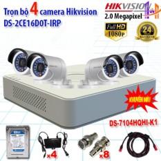 Trọn bộ 4 camrea 2.0MP DS-2CE16D0T-IRP + DS-7104HQHI-K1