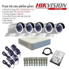 Trọn bộ 5 camera quan sát HIKVISION TVI 1 Megapixel DS-2CE16C0T-IRP chuẩn 720HD